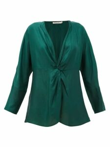 Mes Demoiselles - Twilight Gathered Silk-satin Blouse - Womens - Green