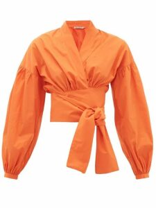 Three Graces London - Greta Balloon-sleeve Cotton-poplin Wrap Blouse - Womens - Orange