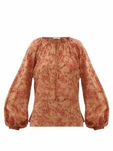 Mes Demoiselles - Josette Floral-print Cotton Blouse - Womens - Brown Print