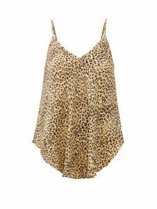 Mes Demoiselles - Rosette Leopard-print Crepe Cami Top - Womens - Beige Print