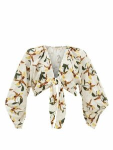 Adriana Degreas - Leopard Orchid-print Tie-front Voile Shirt - Womens - White Print