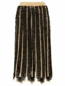 My Beachy Side - Firtek Scalloped-hem Crochet Midi Skirt - Womens - Black
