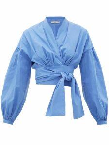 Three Graces London - Greta Balloon-sleeve Cotton-poplin Wrap Blouse - Womens - Blue
