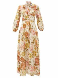 Zimmermann - Bonita Floral-print Linen Maxi Dress - Womens - Cream Print