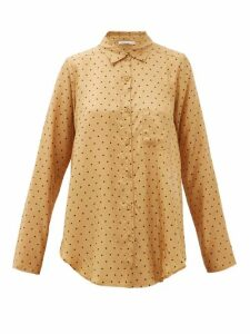 Mes Demoiselles - Boy Relaxed Polka-dot Silk Shirt - Womens - Yellow Print