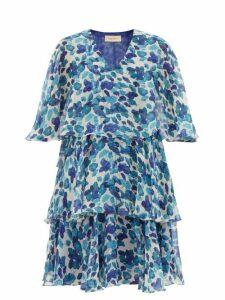 Adriana Degreas - Lotus Leaf-print Chiffon Mini Dress - Womens - Blue Print