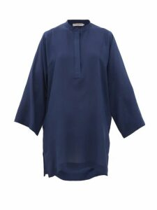Three Graces London - Belinda Silk Crepe De Chine Tunic Top - Womens - Blue