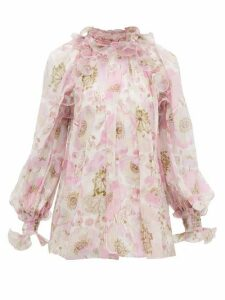 Zimmermann - Super Eight Ruffled Floral-print Silk Blouse - Womens - Pink Print