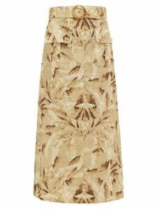 Zimmermann - Super Eight Leaf-print Linen Midi Skirt - Womens - Yellow Print
