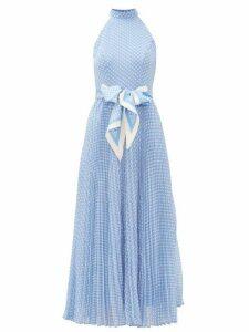 Zimmermann - Super Eight Halterneck Polka-dot Crepe Dress - Womens - Blue Print