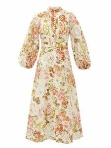 Zimmermann - Bonita Floral-print Crochet-trimmed Linen Dress - Womens - Cream Print