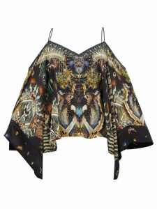 Camilla - Maternal Instinct Off-the-shoulder Silk Blouse - Womens - Black Print