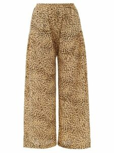 Mes Demoiselles - Rosario Leopard-print Crepe Wide-leg Trousers - Womens - Beige Print