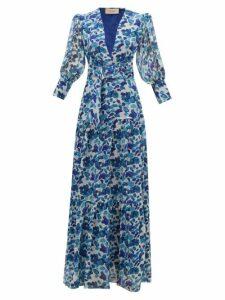 Adriana Degreas - Lotus Leaf-print Plissé Silk-georgette Dress - Womens - Blue Print