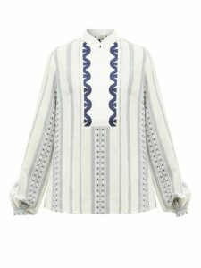 Zeus + Dione - Samos Stand-collar Embroidered Voile Blouse - Womens - White Multi