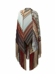Missoni - Fringed Zigzag Lamé Shawl - Womens - Blue Multi