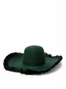 Albus Lumen - Franja Frayed Raffia Hat - Womens - Dark Green