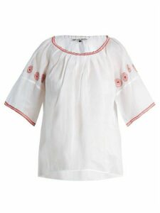 Jupe By Jackie - Sazerac Embroidered Cotton-organdy Top - Womens - White