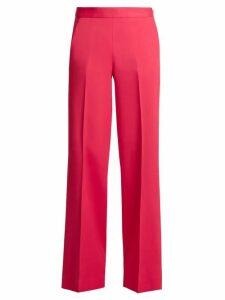 Oscar De La Renta - High-rise Wide-leg Stretch-cady Trousers - Womens - Pink