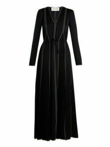 Valentino - V-neck Long-sleeved Hammered-satin Dress - Womens - Navy