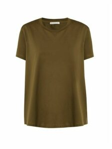 Moncler - Ruffle-trimmed Cotton T-shirt - Womens - Khaki