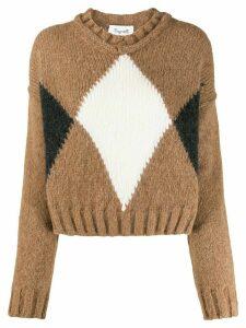 Brag-wette argyle jumper - Brown