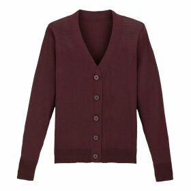 Buttoned Fine Knit Cardigan with V-Neck
