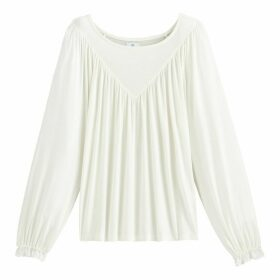 Flowing Neck Long-Sleeved T-Shirt