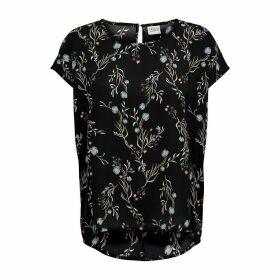 Floral Print Dip-Hem Blouse with Short Sleeves