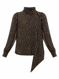 Ganni - Polka Dot-print Crepe Blouse - Womens - Black