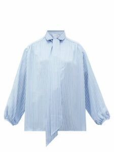Balenciaga - Logo-print Striped Satin Blouse - Womens - Blue