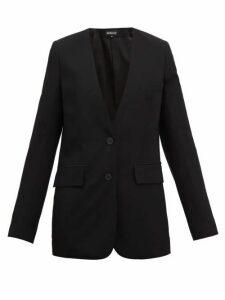 Ann Demeulemeester - Collarless Single-breasted Wool-twill Blazer - Womens - Black