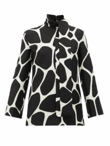 Valentino - Pussy-bow 1966 Giraffe-print Wool-blend Top - Womens - Black White