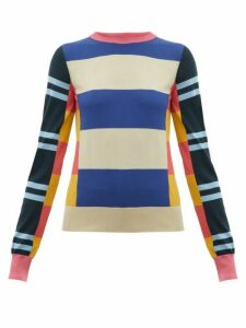 Colville - Striped Wool Sweater - Womens - Blue Multi