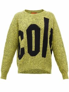Colville - Logo Intarsia Wool-blend Cable-knit Sweater - Womens - White Multi