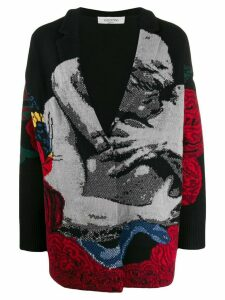 Valentino intarsia oversized cardigan - Black