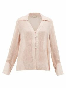 Fendi - Gloria Fil-coupé Silk-blend Blouse - Womens - Pink