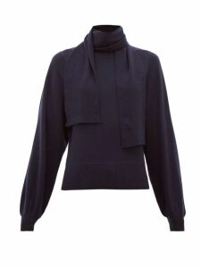 See By Chloé - Tie-neck Bishop-sleeve Sweater - Womens - Dark Blue
