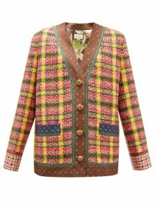 Gucci - Checked Wool-blend Tweed Cardigan - Womens - Yellow Multi
