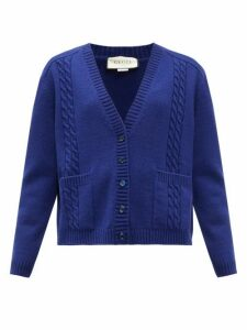 Gucci - Gg-logo Cable-knit Wool Cardigan - Womens - Blue