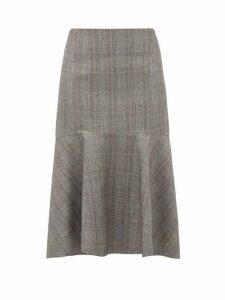 Balenciaga - Prince Of Wales-check Wool Midi Skirt - Womens - Grey