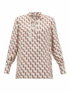 Valentino - V-print Tie-neck Silk Blouse - Womens - Pink Print
