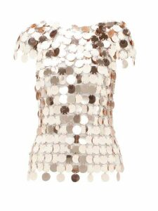 Paco Rabanne - Sequinned Chainmail Top - Womens - Rose Gold