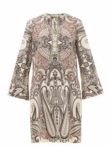 Etro - Cannalla Paisley-print Wool-blend Dress - Womens - White Black