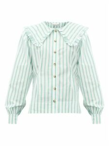 Ganni - Ruffled Collar Striped Cotton-poplin Shirt - Womens - White Multi