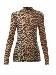 Ganni - Leopard-print Roll-neck Mesh Top - Womens - Leopard