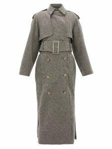 Khaite - Binx Houndstooth Double-breasted Wool-blend Coat - Womens - Black White
