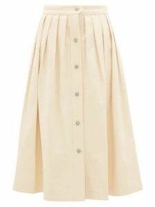 Giuliva Heritage Collection - The Giovanna Pleated Denim Skirt - Womens - Cream