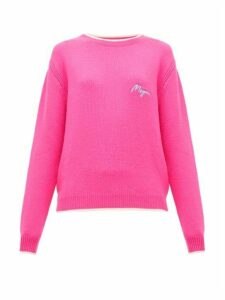MSGM - Logo-embroidered Wool And Cashmere-blend Sweater - Womens - Fuchsia