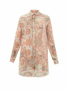 Etro - Altea Paisley-print Silk-georgette Shirt - Womens - Light Pink